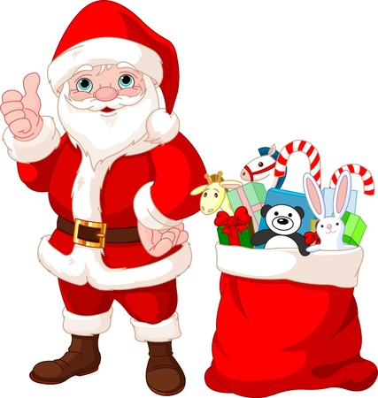 christmas costume: Santa Claus shows thumb up, with bag full of gifts Illustration