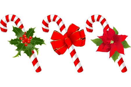 Decorated Christmas candy cane designs Vector