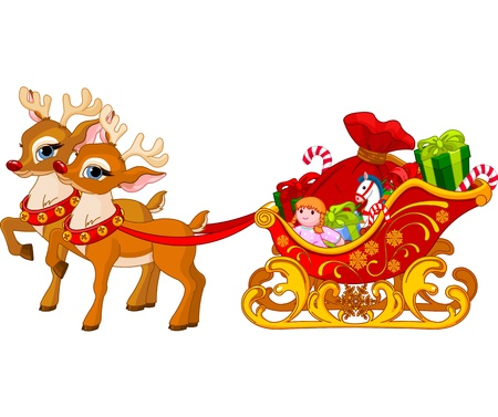 christmas sleigh: Sleigh of Santa Claus, ready for departure Illustration