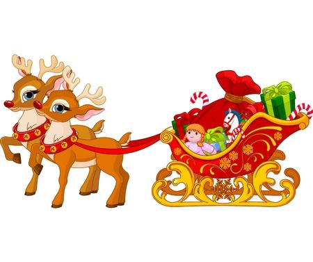 papa noel en trineo: Trineo de Santa Claus, listo para la salida Vectores