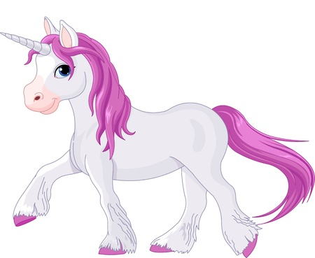 Illustration of quietly going unicorn Vector
