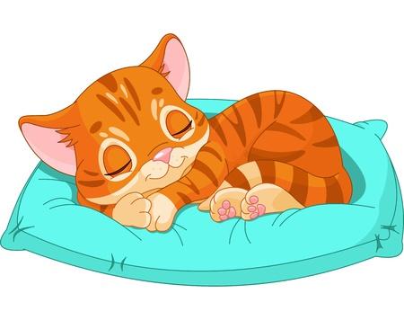 chaton en dessin anim�: Chaton mignon dormir sur l'oreiller bleu Illustration