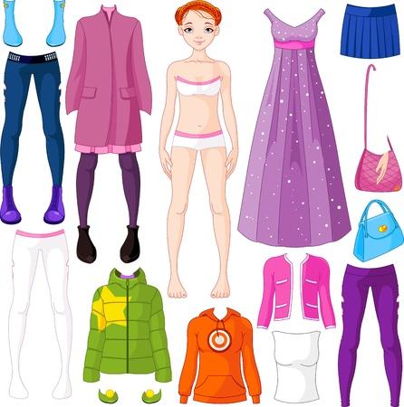 Paper doll met kleding set Stock Illustratie