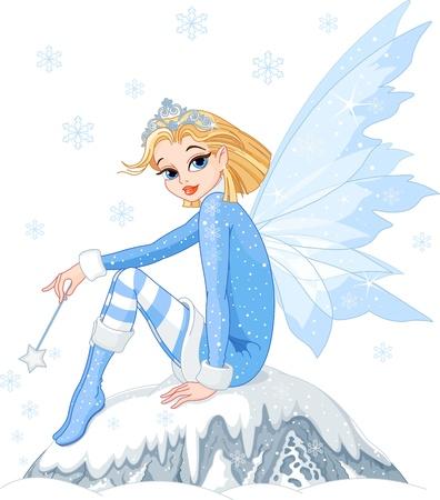 elves: Beautiful Winter fairy sitting on ice rock Illustration