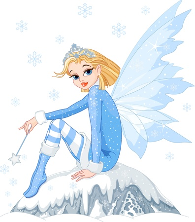 girl magic wand: Beautiful Winter fairy sitting on ice rock Illustration