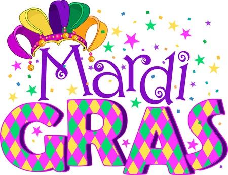 parade confetti: Mardi Gras tratamiento tipo con sombrero de buf�n