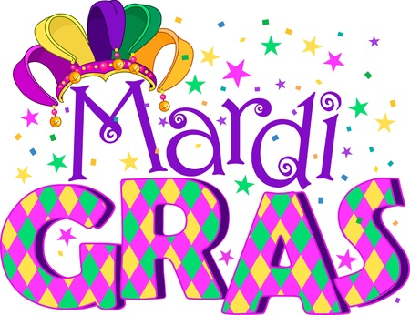 Mardi Gras type treatment with jester hat Vector