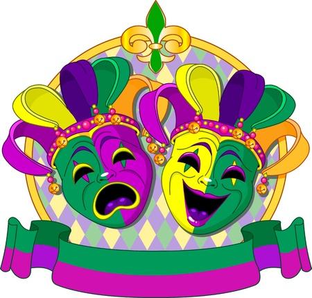 arlecchino: Mardi Gras commedia e tragedia maschere design, con posto per il testo