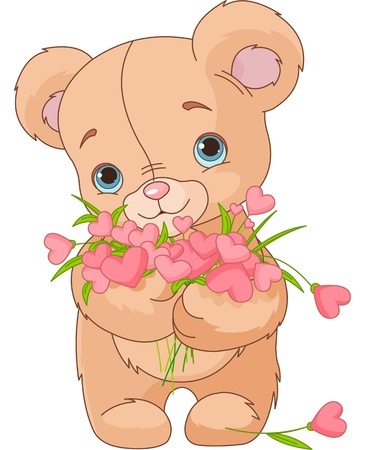 Cute little Teddy bear giving a bouquet made of hearts Vector