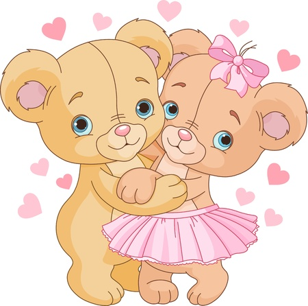 couple embrace: Two cute Teddy bears in love