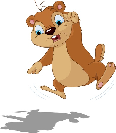 Cute groundhog scared of their own shadow  Perfect for Groundhog Day  Illustration