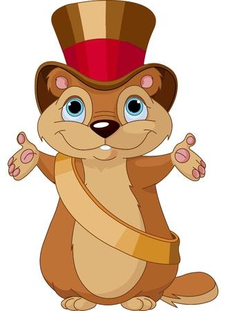 caricaturas de animales: Marmota feliz en su día con el alcalde de sombrero