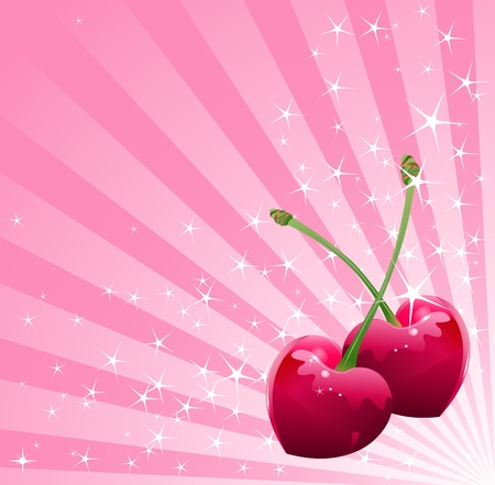 Valentine heart-shaped cherries over sparkling background  Ilustracja