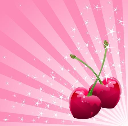 romantic: Valentine heart-shaped cherries over sparkling background  Illustration