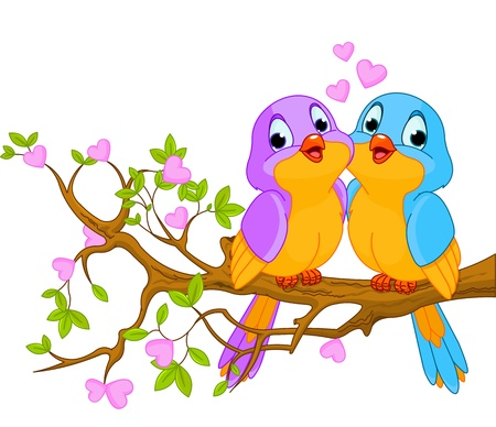 Two lovebirds sitting on blossom a tree branch