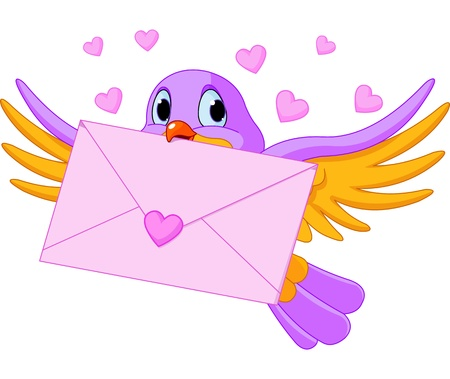 Illustration of cute bird with love letter Stock Vector - 17417514