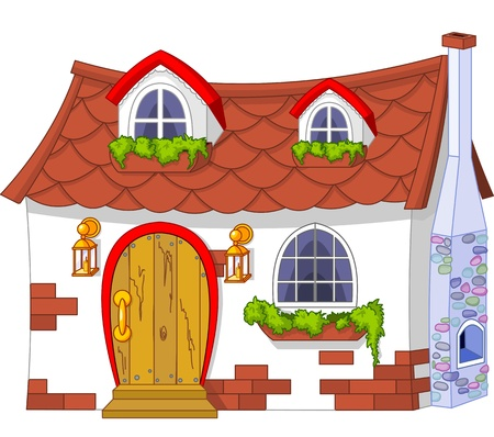 house: Illustratie van een schattige kleine huis