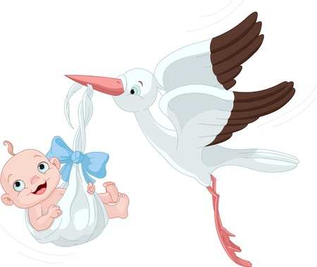 Cute stork carrying a baby boy Ilustracja