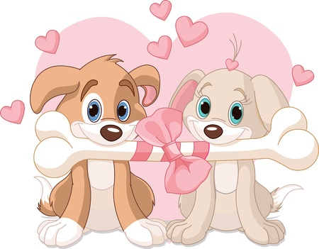 love cartoon: Two Valentine dogs holding decorated bone