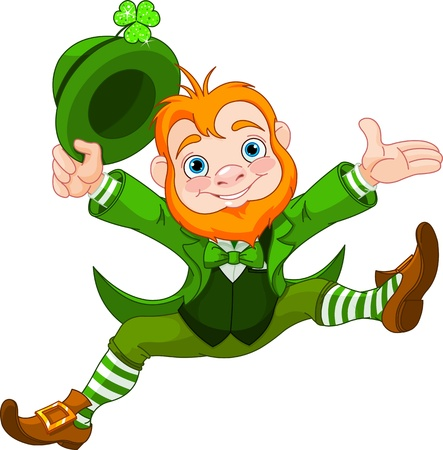leprechaun hat: Joyful jumping leprechaun