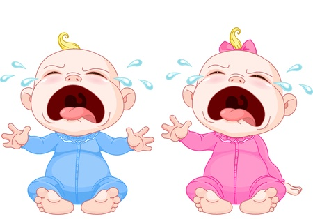 baby illustration: Cute crying baby twins