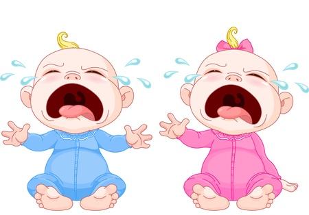fille pleure: Mignon jumeaux de b�b� qui pleure Illustration