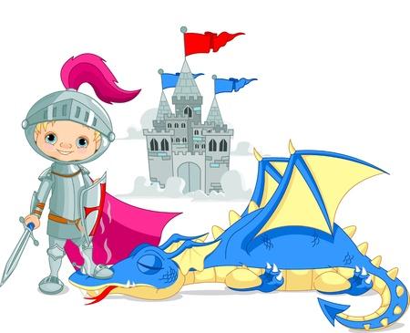 caballero medieval: Valiente caballero y dragón derrotado