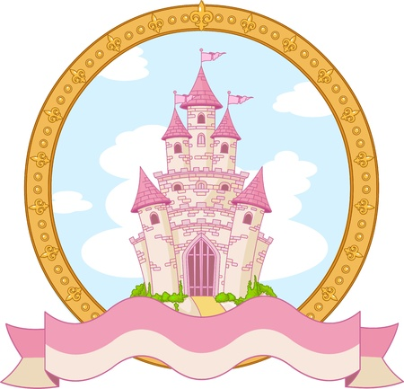 cartoon fairy: Princess magic castle label design