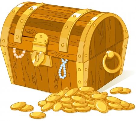 cofre del tesoro: Cofre del tesoro y la pila de oro Vectores