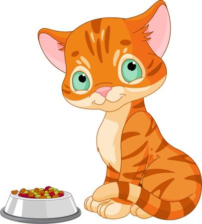 Leuke gestreepte kitten in de buurt van de kat Stock Illustratie