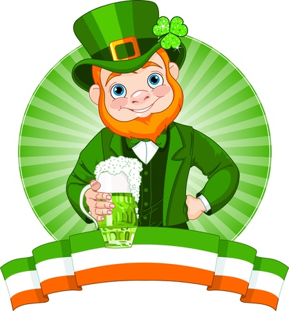 patrick banner:  Leprechaun Raises A Glass To Celebrate St  Patrick Illustration