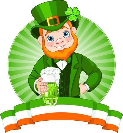 st  patrick s:  Leprechaun Raises A Glass To Celebrate St  Patrick Illustration