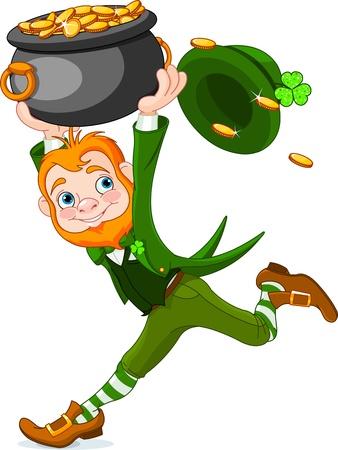 Cute  cartoon Leprechaun running with pot of gold