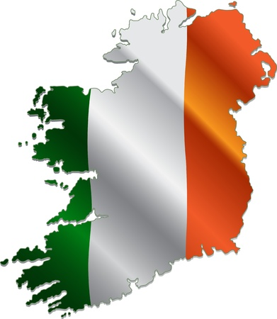 ireland flag: Ireland map with the national flag on it