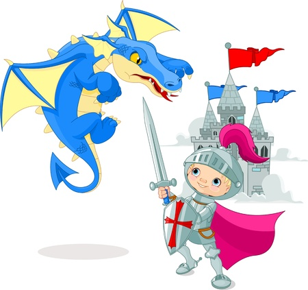 cartoon knight: A brave knight fighting with a dragon Illustration