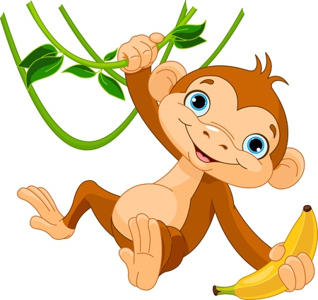 cartoon zoo: Cute baby monkey on a tree holding banana