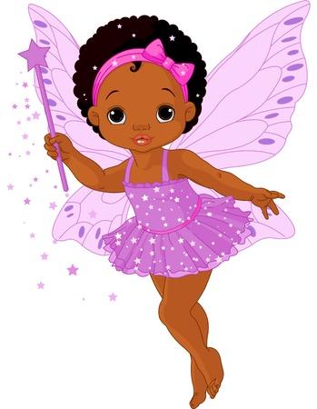 hadas caricatura: Ilustraci�n de hadas lindo peque�o beb� en marcha Vectores