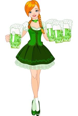 Illustratie van schattige Iers meisje portie bier