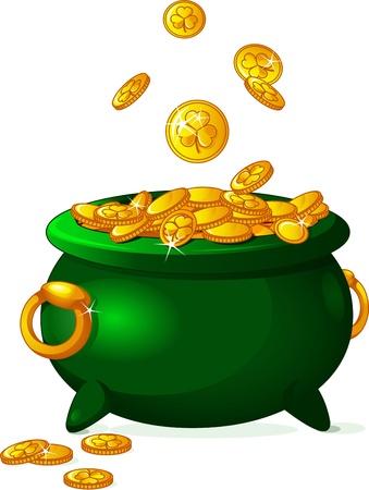 Olla llena de monedas de oro Patrick St Foto de archivo - 17924382