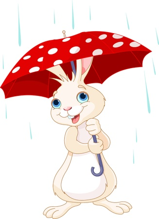 umbrella rain: Cute little bunny under umbrella  Illustration