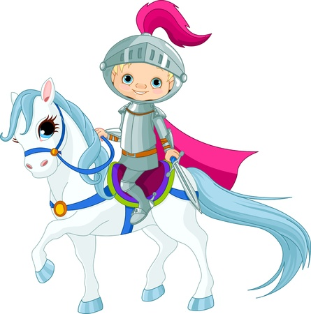 cartoon knight: Brave Knight riding on a horse