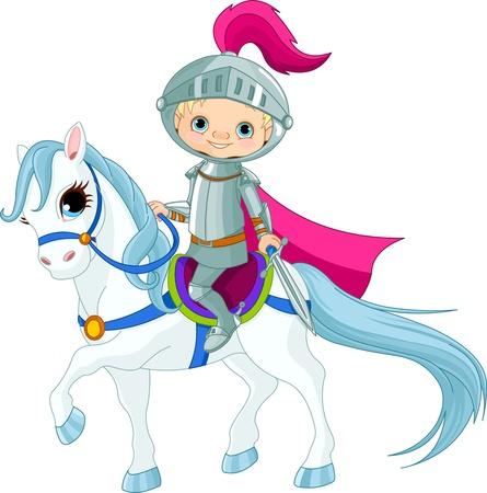 riding helmet: Valiente caballero montado en un caballo Vectores