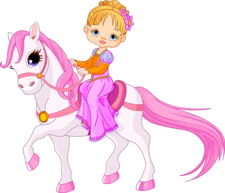 Beautiful little  lady riding on a horse Vector