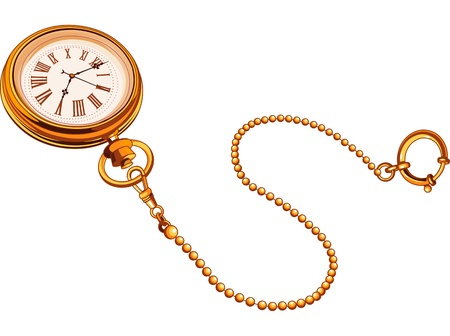 Gold antique pocket watches Vector