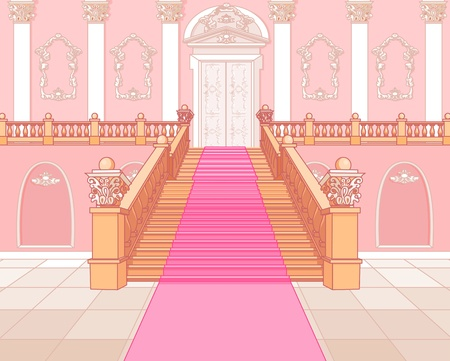 castillos de princesas: Lujo escalera del palacio m�gico Vectores