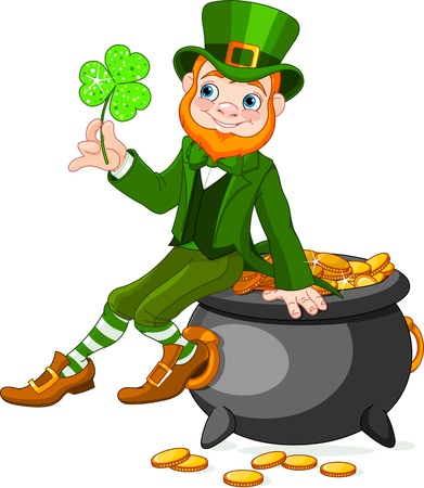 Cute  cartoon Leprechaun sitting on pot of gold Vector