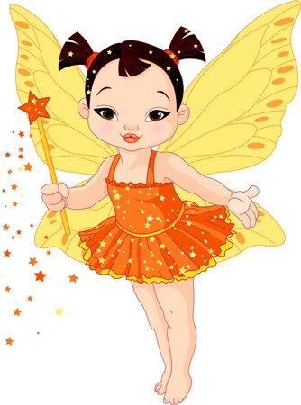 Illustration of Cute little Asian baby fairy in fly Vector