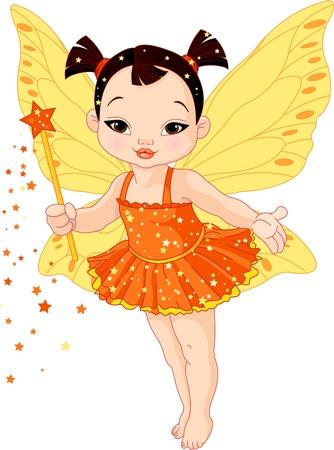 hadas caricatura: Ilustración de la pequeña hada linda del bebé asiático en marcha
