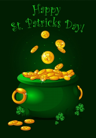 Pot full of golden coins  St  Patrick Vector