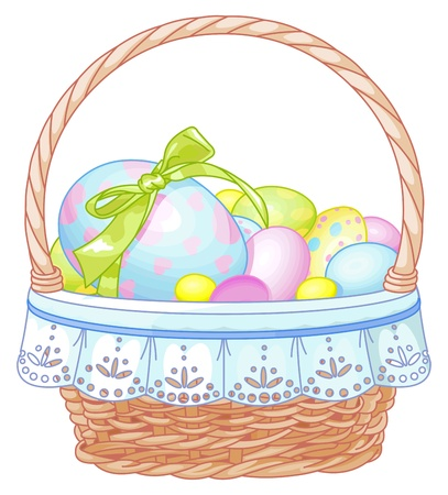 Pretty Easter basket full of eggs Vector